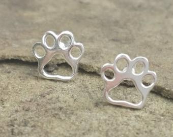 Sterling Silver Cat / Dog Paw Earrings