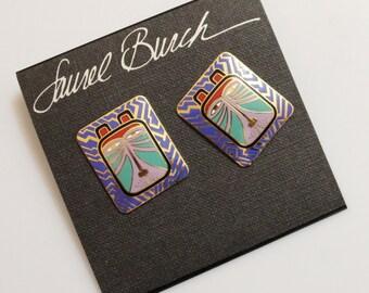 "Laurel Burch Cat Earrings ""Toshio"", Big Bold Studs, Colorful Earrings"