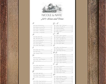 Winery Seating Chart, Digital, Grapes Table Assignment, Wedding, Choose Small, Medium or Large sizes for approximately 130 to 300 guests