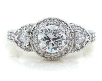 Moissanite Engagement Ring Three Stone Round and Trillion Diamond Halo Forever One Center