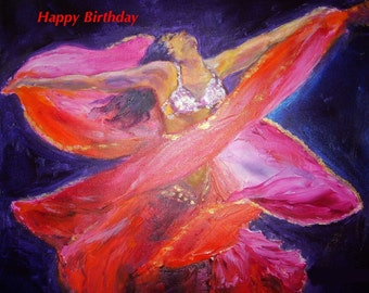 """Belly Dancer Folded  Birthday Card 7""""x5"""" Blank inside for your own message"""