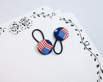 American Flag Hair Ties, Red White and Blue Hair Ties, USA Hair Acessories, Stars Stripes Ties, USA Ponytail Holder, Button Hair Ties