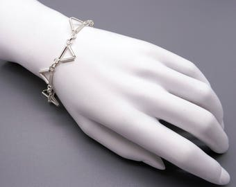 "Handmade Sterling Silver Triangle Tube Link Chain Adjustable Bracelet 7"" to 9"""