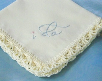 Bridal keepsake, Bridal Handkerchief, Hanky, Hankie, I do, Something Blue, Hand Crochet, Lace, Personalized, Embroidered, Ready to ship
