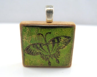 Green butterfly - Glowing metallic Scrabble tile pendant