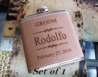 Personalized Flask, Engraved Hip Flask, Custom Leather Flask, Groomsmen Flask, Groomsman Gift, Groomsmen Gift, Flask for Men, Gift for Him