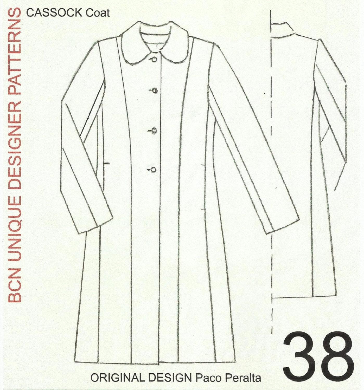 CASSOCK coat pattern. SIZE 38.