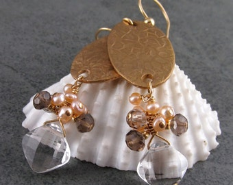 Handmade Bronze earrings with clear quartz, smokey quartz, pearls OOAK
