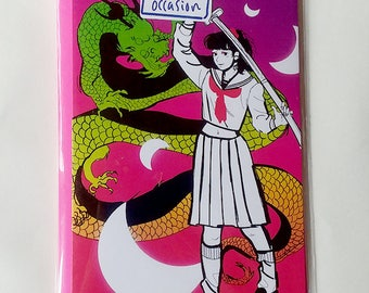 Cool Samurai Schoolgirl Uniform Anime Girl Greeting Card Any Occasion