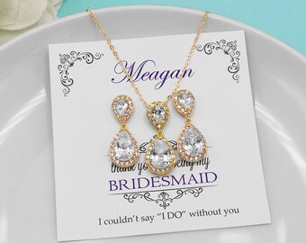 Bridesmaid Gold Jewelry Set, Personalized Jewelry Set, Bridal party jewelry, yellow gold, cz jewelry set, Kensley Gold Bridesmaids Set