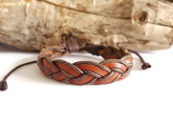 Braided leather strap and Brown cord