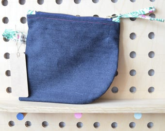 Denim zipped pouch, purse, make up bag, handbag organiser, zippered pouch, handy pouch, pencil case with flamingo patterned tabs