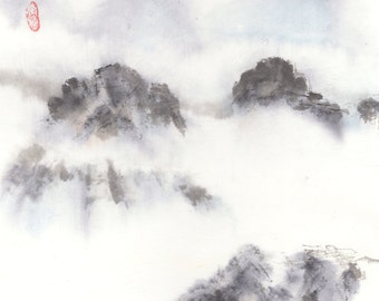 Mountain and Mist Original Chinese Brush Landscape Painting