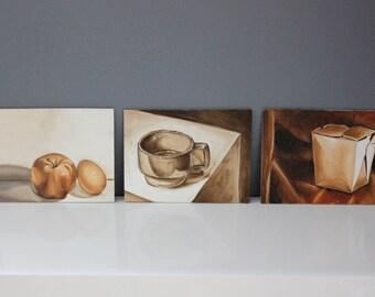 Still Life Trio Kitchen Art Paintings on 6x8 Plywood