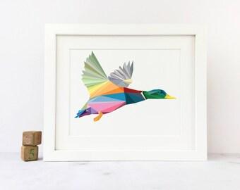 Geometric Flying Duck Art Print