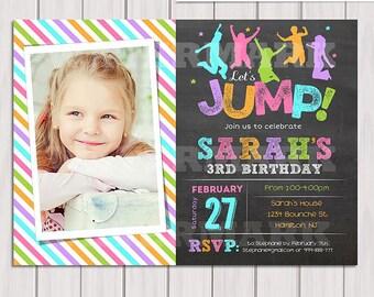Jump birthday party invitation, Girl Bounce house, Trampoline birthday invitation, Pump It Up Party Photo invitation Printable DIY