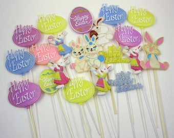 Vintage Plastic Easter Cake or Cupcake Decorations with Words Happy Easter Rabbits Eggs Set of 20 Lot A