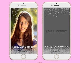 SILVER GEOFILTER  Plus Family & Friends Message   Custom Personalized Snapchat Geofilter   Girl Adult Birthday Party Diamonds Glitter