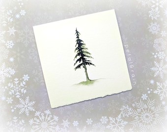 Square Deckle-Edge Card: One Pine Tree