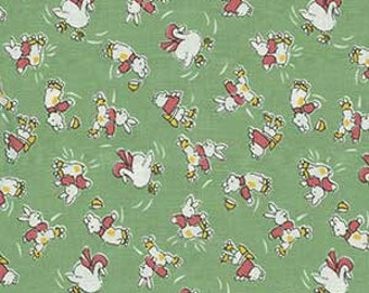 Quilting Fabric - Half Yard - Maywood Studio Animal Quackers -  1930s Reproduction fabric Green with skating bunnies