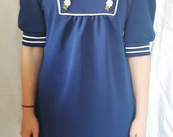 Mini dress, sixties dress, mod, 1960's, navy dress, daisy, size 8.