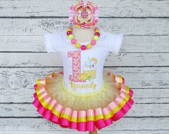 Pink Lemonade Birthday Tutu Set - Girls Pink and Yellow First Birthday Tutu Outfit - Lemonade Stand Party Outfit - First Birthday Dress