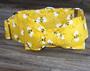 Bright yellow bumble bee martingale/buckle dog collar