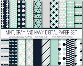 mint and navy modern digital scrapbook paper with geometric patterns