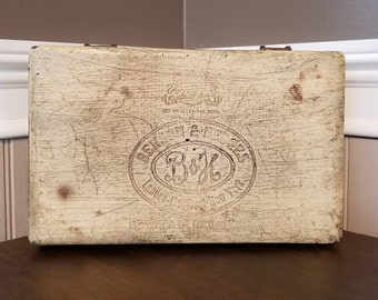 Antique Wood Cigar Box, Vintage Wooden Cigar Box, Benson and Hedges, Cigar Holder, Rustic Decor, Father's Day Gift, Storage Container, Ivory