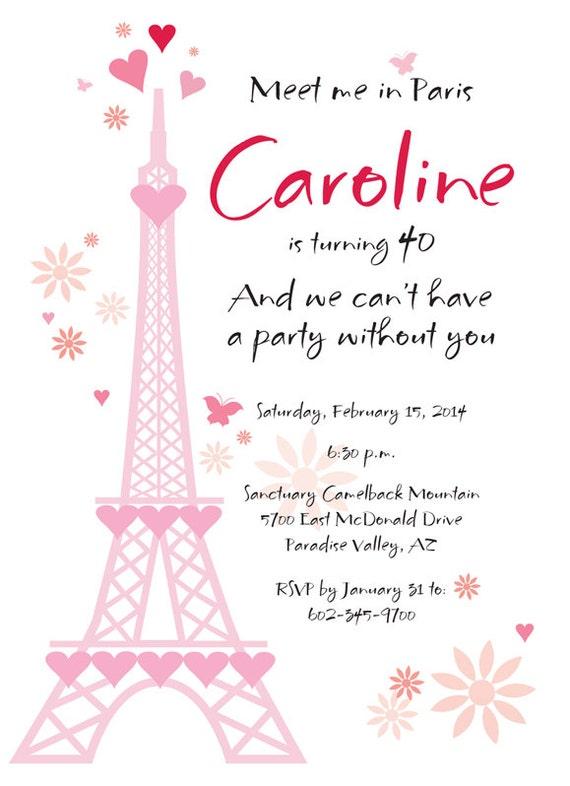 Matrimonio In Francese : Invito festa di compleanno francese