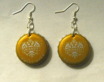 Recycled Beer Bottle Cap Earrings Smirnoff