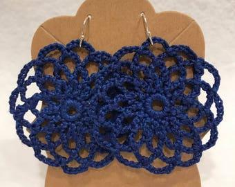 Blue crochet lace mandala earrings