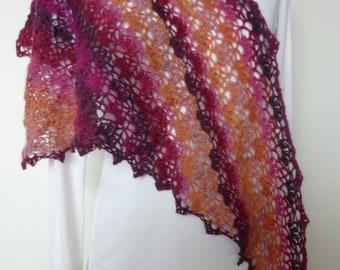 Shawl, scarf, openwork crochet, color gradient