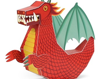 Red Dragon Paper Toy - DIY Paper Craft Kit - 3D Model Paper Figure