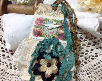 Handmade Altered Victorian Gift Tag, Mixed Media Tag, Vintage Greeting Card, Valentine, Valentine Card, Bridal Gift, Vintage Bridal Gift