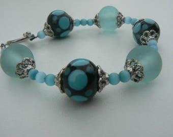 Jewelry turquoise Nebula glass bracelet