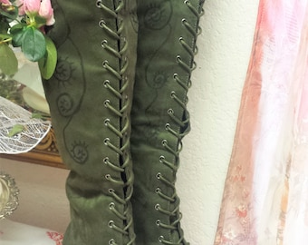 BatGirl ~Bohemian Gypsy/Gothic/Medieval /Viking/Boho Hippie Gypsy/Game of Thrones/Kuchi Coin/Hand Painted Olive Green Lace Up Boots size 6