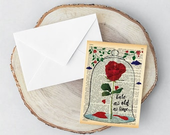 Beauty and the Beast enchanted rose Card-love card-wedding card-tale as old as time card-Valentines Day Card-handmade card-blank card