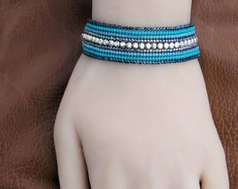Teal Bracelet - 6.75 Inch - Bead-Woven Bracelet - Beadwork - Narrow Cuff- Seed Bead Bracelet - Flat Band - Ombre Beaded - Ready to Ship