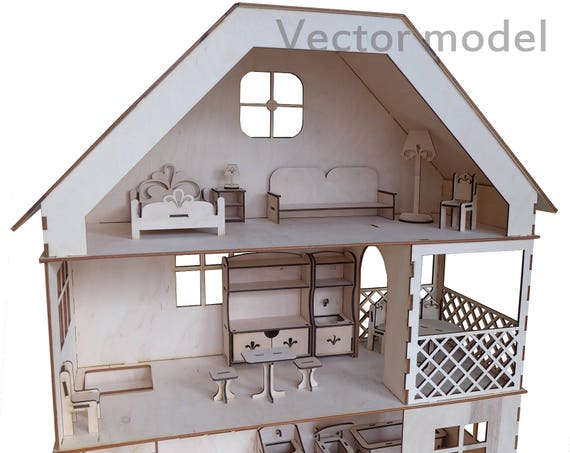 Dollhouse 3 Floors With Furniture Drawing Set Laser Cut
