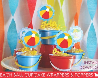 Beach Party Cupcake Wrappers // Sand Pail // Beach Ball Cupcake Toppers // Beach Party // Pool Party // Party Decor // Instant Download