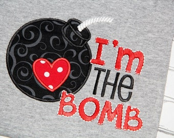 I'm the bomb Valentine Embroidery design 5x7 6x10 Embroidery sayings, socuteappliques, boy embroidery, Valentines Day, heart embroidery