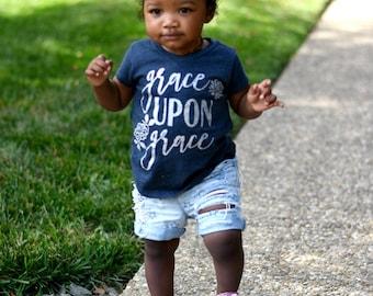 Kids Christian Shirts, Christian Girls Shirts, Bible Verse Shirt, Scripture Shirt, Confirmation Gift, Baptism gift, Grace Upon Grace Shirt
