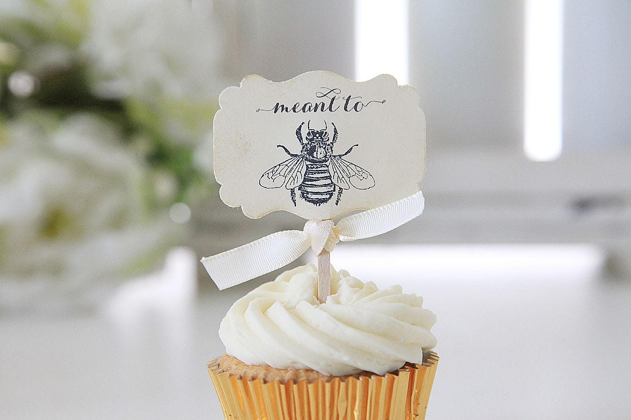 Wedding cupcake toppers Meant to bee Bee theme Wedding