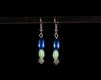 Blue and Green Flower Dangles