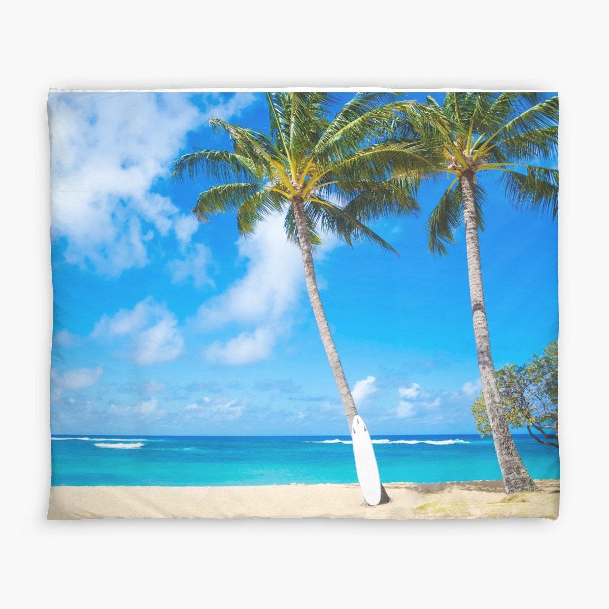 Paume housse de couette avec palmier et planche de surf for Housse de planche de surf