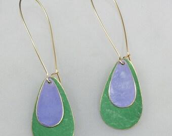 Brass Patina Teardrop Earrings in Green and Purple