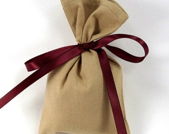 Brown fabric bag, EMPTY cotton sachet, tan potpourri sachet, rustic party decor, wedding favor bag, small gift bag, fall sachet, 3x5