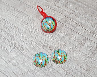 2 glass cabochons 12mm flowers nature bird
