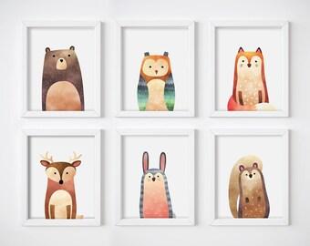 Wall Art Print - Watercolor Animals Digital Prints, Nursery Prints, Printable Wall Art, Digital Download, Woodland Animals Art Prints